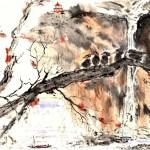 #55 5 BIRDS ON BRANCH